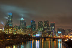 Philadelphia Skyline at Night Stock Images
