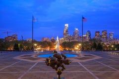 Philadelphia skyline at night Stock Image