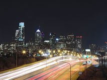 Philadelphia Skyline at Night. The downtown Philadelphia skyline at above the Schuylkill Expressway Royalty Free Stock Photos
