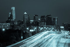 Philadelphia skyline by night - Pennsylvania - USA Royalty Free Stock Photo