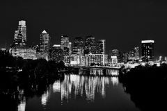 Philadelphia skyline night time in black and white. Royalty Free Stock Photography