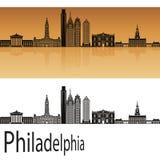Philadelphia skyline in orange Stock Images