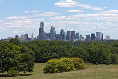 Philadelphia skyline and park Stock Photography