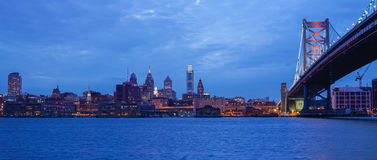 Philadelphia skyline. Reflected in the Delaware river under a twilight Royalty Free Stock Photo