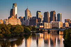 Philadelphia skyline. Reflected in Schuylkill River on a late afternoon Stock Photo