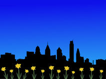 Philadelphia skyline in spring Royalty Free Stock Photos