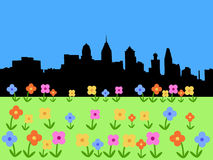 Philadelphia skyline in spring Stock Images