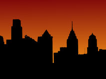 Philadelphia skyline at sunset Royalty Free Stock Photo