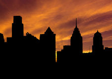 Philadelphia skyline at sunset Royalty Free Stock Image
