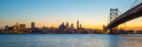 Philadelphia skyline at sunset Royalty Free Stock Images