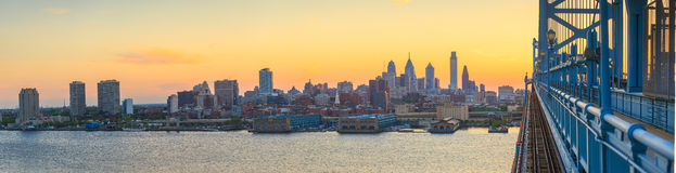 Philadelphia skyline at sunset Stock Images