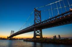 Philadelphia skyline at sunset. Panorama of Philadelphia skyline, Ben Franklin Bridge and Penn's Landing sunset Stock Image