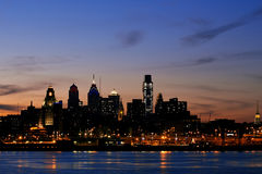 Philadelphia Skyline at Twilight, Wide View. Philadelphia skyline and Penn's Landing, shown at twilight Stock Photo