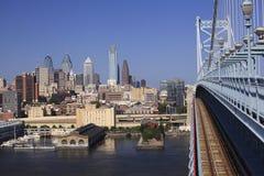 Philadelphia skyline, USA. Philadelphia skyline view from Benjamin Franklin Bridge, USA Royalty Free Stock Photo