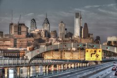 Philadelphia skyline view from Ben Franklin bridge stock photo