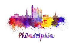 Philadelphia skyline in watercolor Stock Images
