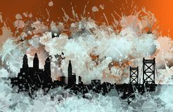 Philadelphia stain skyline over orange. Image of philadelphia in an environment of shadows and spots. Over cool orange Stock Photos