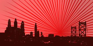 Philadelphia stain skyline over red rays,. Image of philadelphia in an environment of shadows and spots. Over red rays Stock Photos