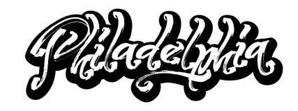 philadelphia sticker Letras modernas de la mano de la caligrafía para la impresión de la serigrafía imagen de archivo