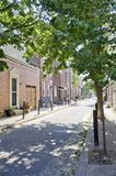 Philadelphia Street. Brick homes on a typical quiet narrow street in South Philly Stock Images