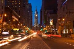 Philadelphia streets by night - Pennsylvania - USA Royalty Free Stock Photos