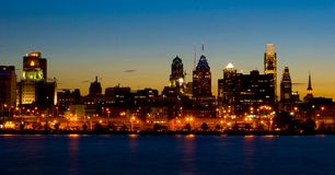Philadelphia at Sunset (panoramic) stock photo