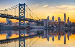 Philadelphia Sunset Skyline Refection royalty free stock image
