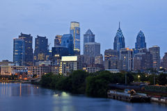 Philadelphia sunset. Philadelphia skyline at sunset seen from south street bridge Stock Photos