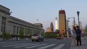 Philadelphia sunset street crossroad panorama 4k pennsylvania usa stock video