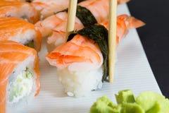 Free Philadelphia Sushi Roll And Shrimp Nigiri Royalty Free Stock Image - 34621556