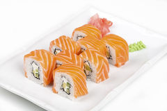 Philadelphia sushi roll. Philadelphia sushi roll on the plate Stock Image
