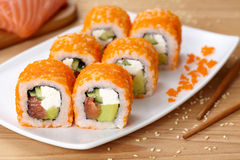 Philadelphia sushi roll with salmon, avocado Stock Photography