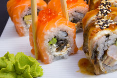 Philadelphia sushi roll with salmon roe Royalty Free Stock Image