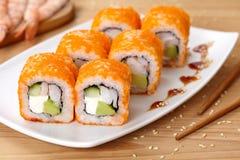 Philadelphia sushi roll with shrimp, avocado Royalty Free Stock Photography