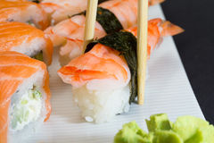 Philadelphia sushi roll and shrimp nigiri Royalty Free Stock Image