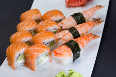 Philadelphia sushi roll and shrimp nigiri Royalty Free Stock Photos