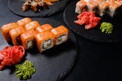 Philadelphia sushi rolls traditional oriental food Stock Photo