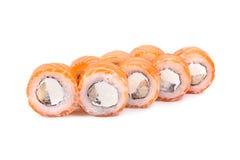 Philadelphia unagi. Salmon, Philadelphia cheese. On white Royalty Free Stock Photography