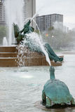 PHILADELPHIA, USA - APRIL 19: Swann Fountain in Logan Square on Benjamin Franklin Parkway in Center City Philadelphia on. PHILADELPHIA, USA - APRIL 19: View of Royalty Free Stock Photos