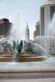 PHILADELPHIA, USA - APRIL 19: Swann Fountain in Logan Square on Benjamin Franklin Parkway in Center City Philadelphia on Stock Image