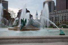 PHILADELPHIA, USA - APRIL 19: Swann Fountain in Logan Square on Benjamin Franklin Parkway in Center City Philadelphia on. PHILADELPHIA, USA - APRIL 19: View of Royalty Free Stock Image