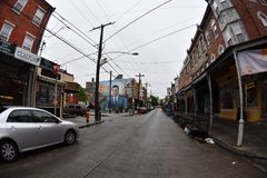 PHILADELPHIA, USA - 24. April 2017 - Philadelphia wenig Italien-Bezirk mit Shops und Restaurants Lizenzfreie Stockbilder