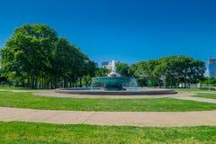 PHILADELPHIA, USA - NOVEMBER 22, 2016: Fountain at Logan Circle, downtown Philadelphia, Pennsylvania, USA Royalty Free Stock Image
