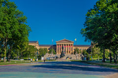 PHILADELPHIA, USA - NOVEMBER 22, 2016: The Philadelphia Pennsylvania Museum of Art East entrance and North wing. Buildings and empty main plaza with Greek Royalty Free Stock Photos