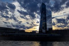 Beautiful sunset behind the Circa centre office building in Philadelphia. royalty free stock images
