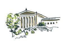 Philadelphia USA sketch vector city line art royalty free illustration