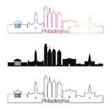 Philadelphia V2 skyline linear style with rainbown vector illustration