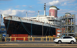 Philadelphia 4. View from Ikea parking lot to catch the image of SS United States cruise ship on Pier 82 Stock Image