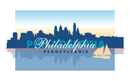 Philadelphia Waterfront. With sailboat illustration Stock Photos