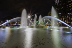 Philadelphias Logan Circle Fountains Arkivbild